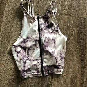 Charlotte Russe Purple and White Sporty Crop